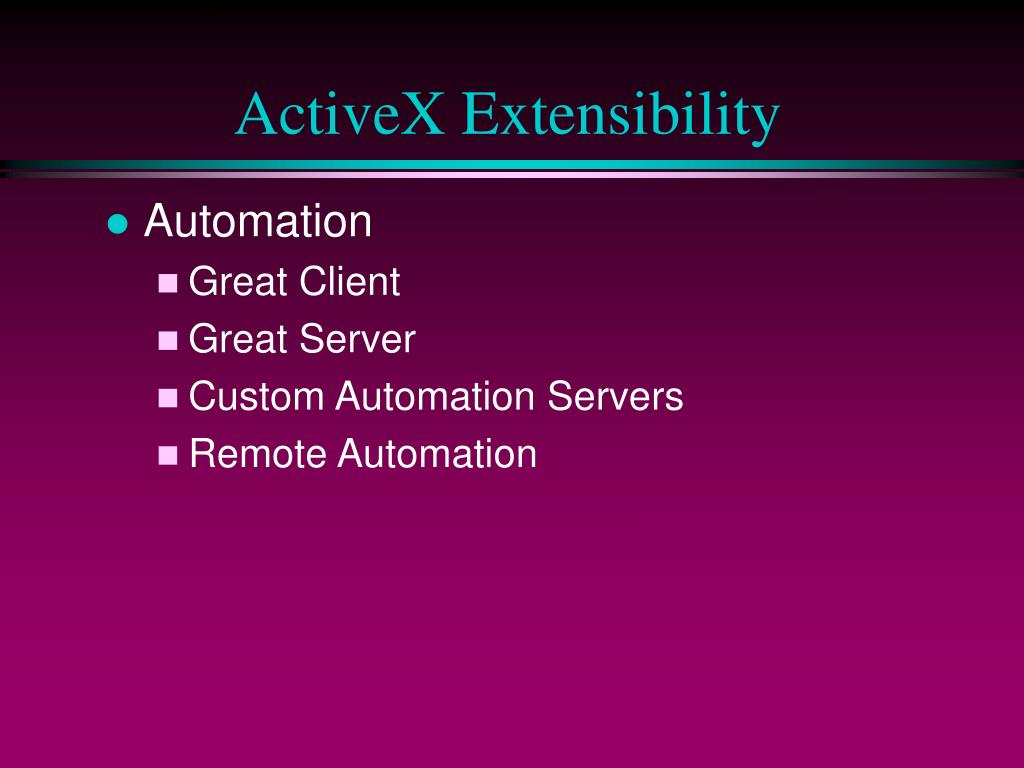 ActiveX Extensibility