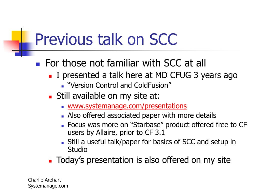 Previous talk on SCC