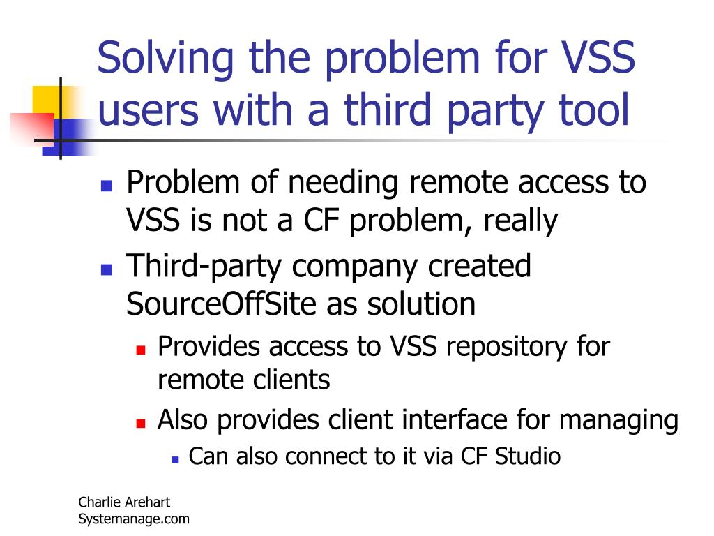 Solving the problem for VSS users with a third party tool