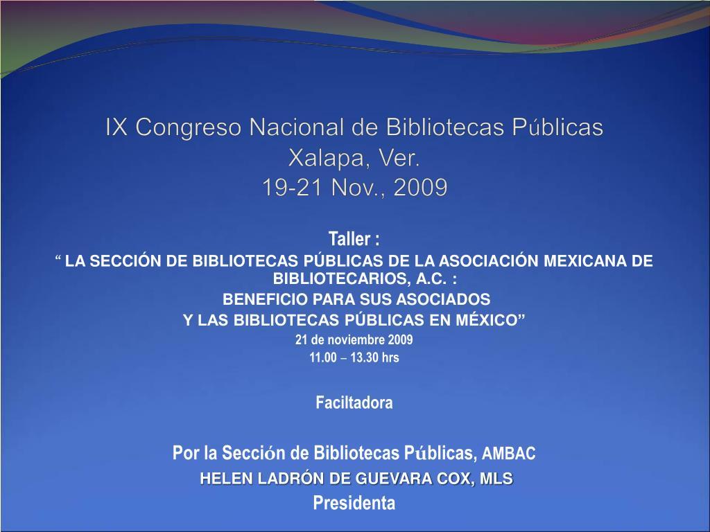 IX Congreso Nacional de Bibliotecas P