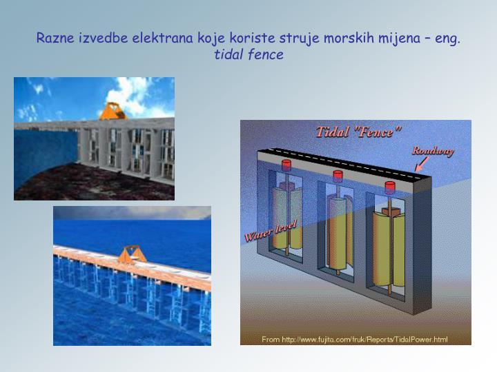 Razne izvedbe elektrana koje koriste struje morskih mijena – eng.