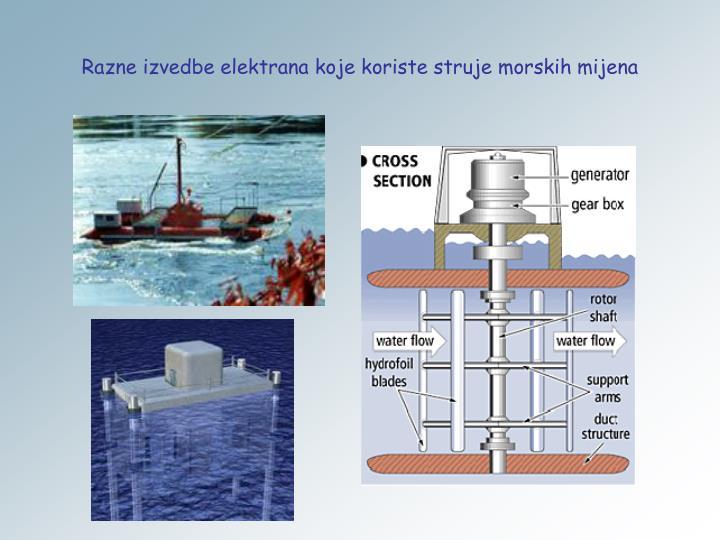 Razne izvedbe elektrana koje koriste struje morskih mijena
