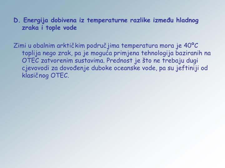 D. Energija dobivena iz temperaturne razlike između hladnog zraka i tople vode