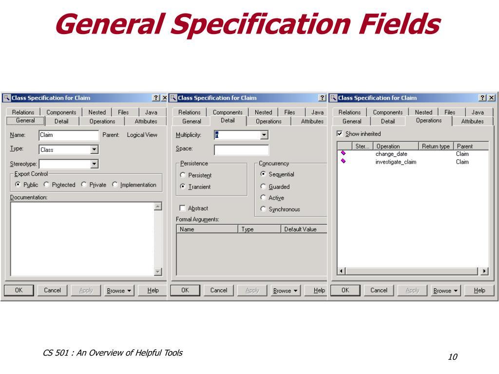 General Specification Fields