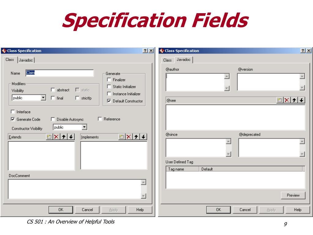 Specification Fields