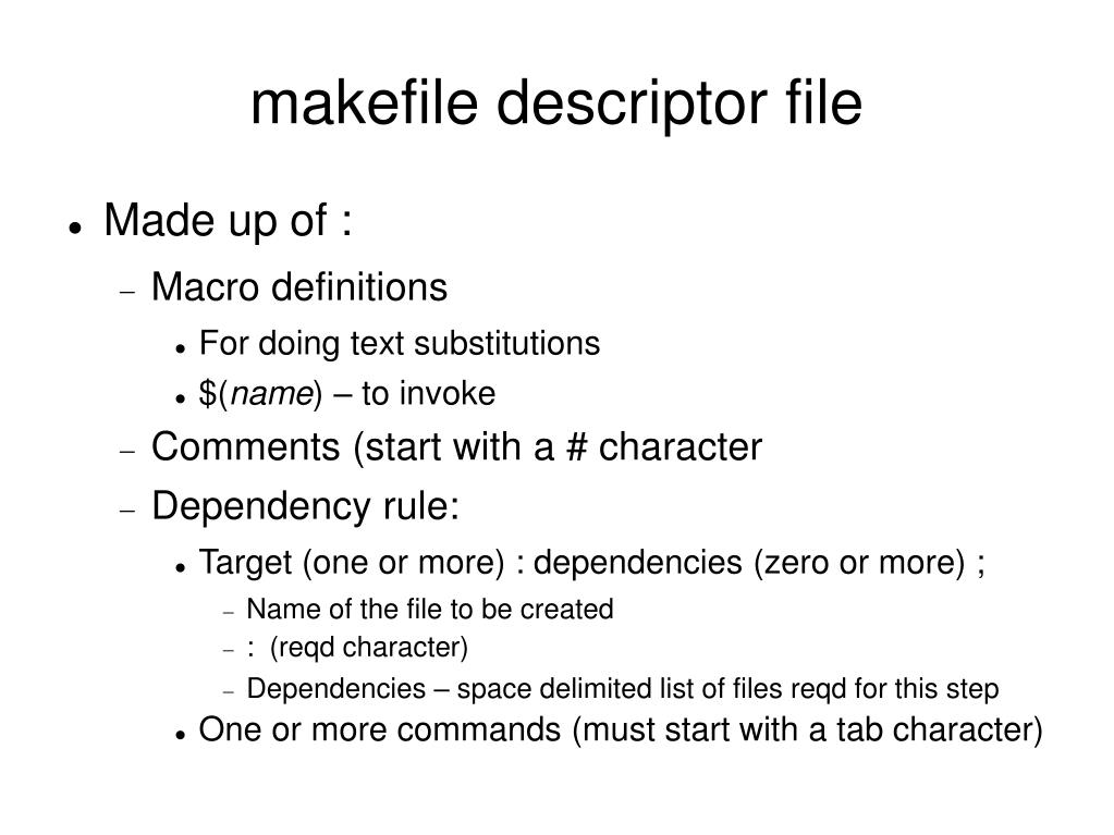 makefile descriptor file