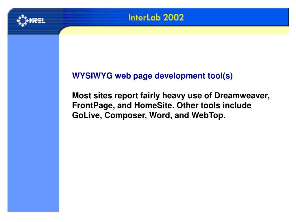 WYSIWYG web page development tool(s)