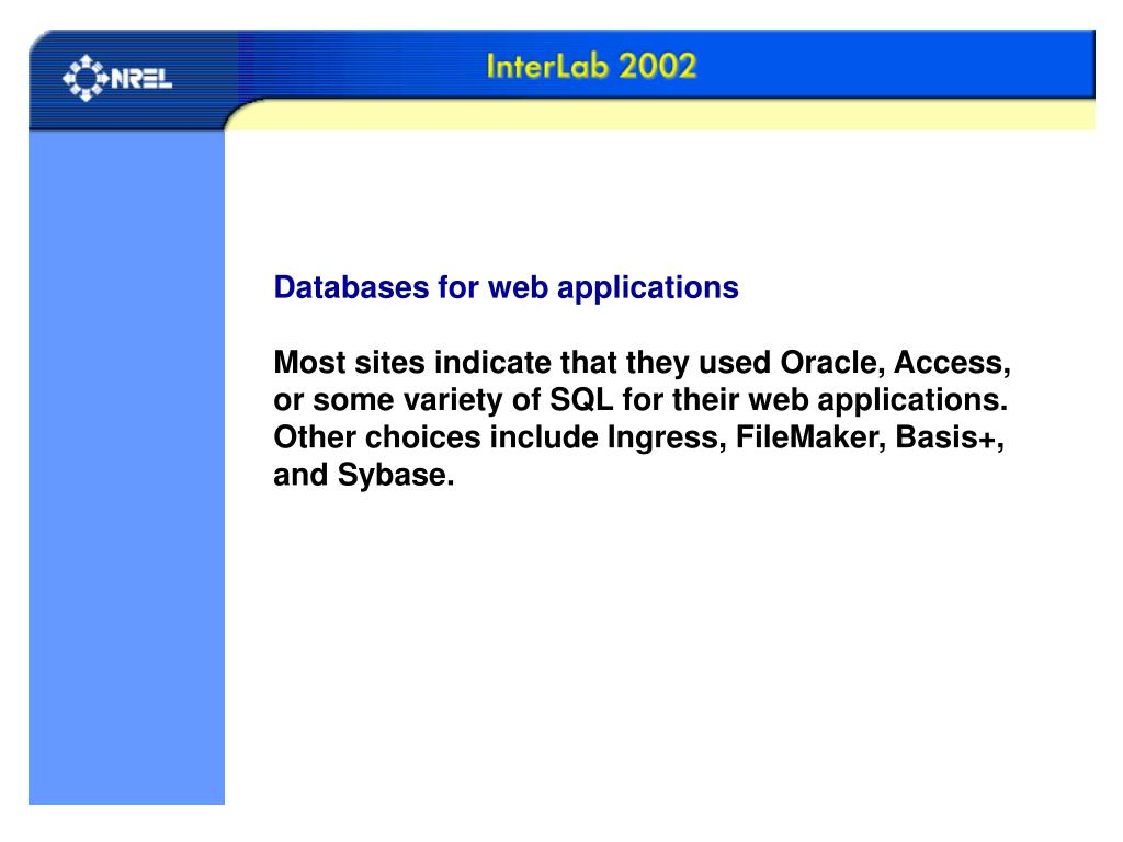 Databases for web applications