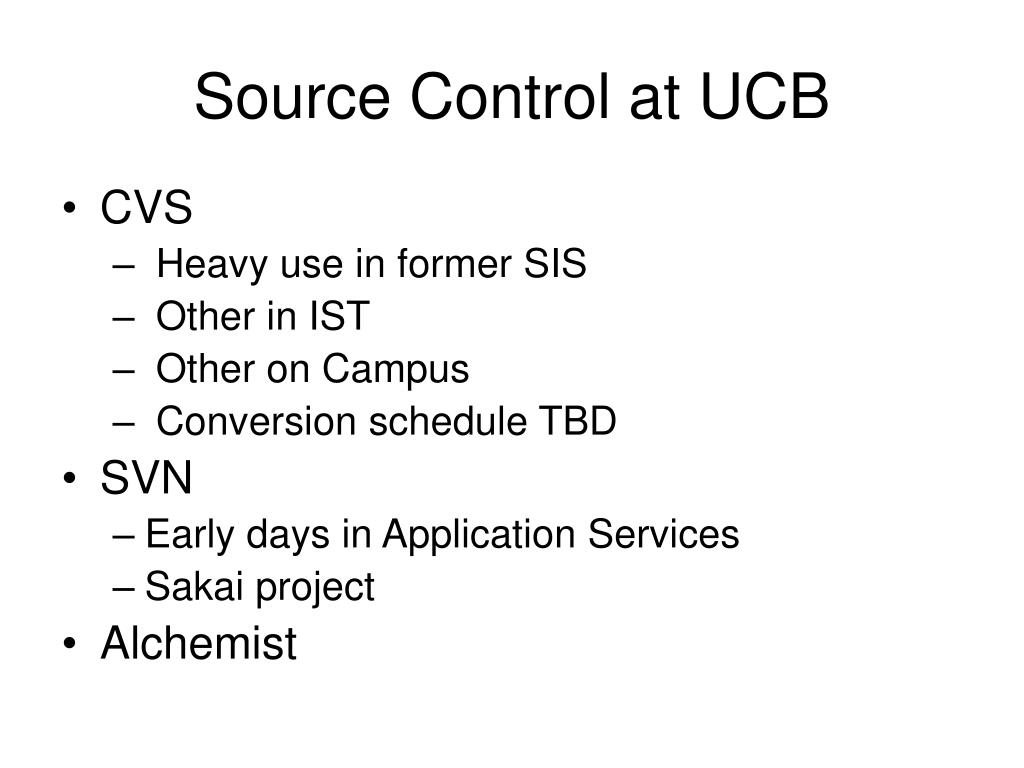 Source Control at UCB