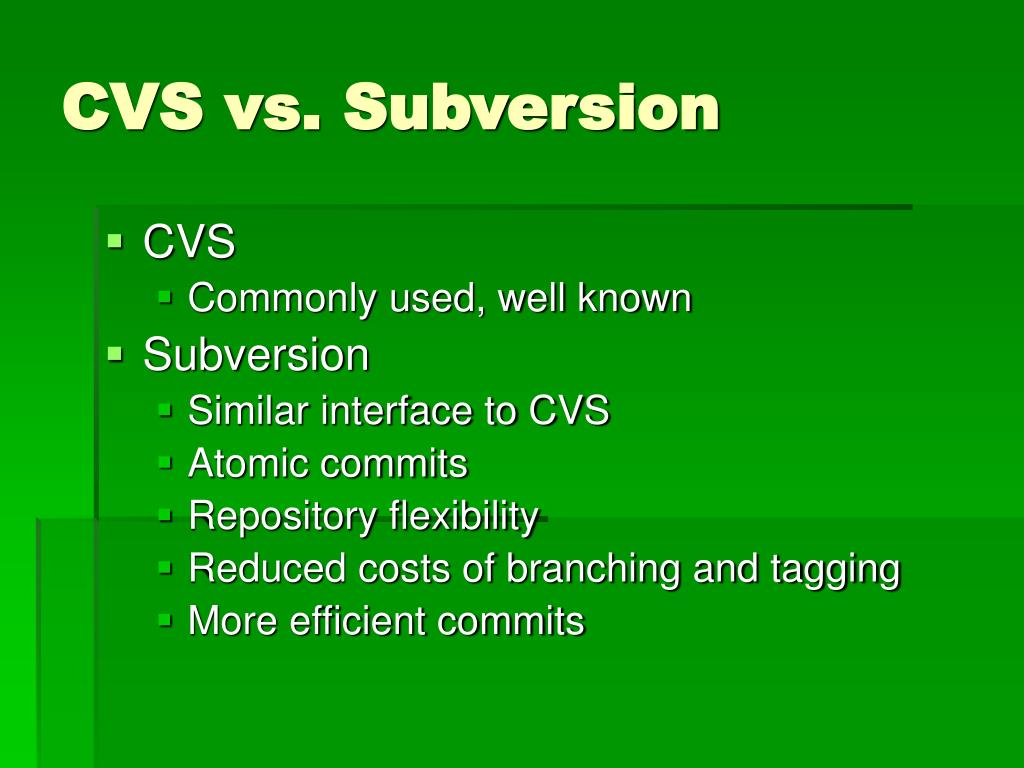 CVS vs. Subversion