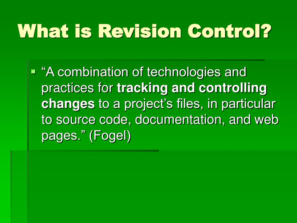 What is Revision Control?