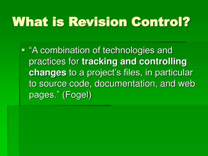 What is revision control
