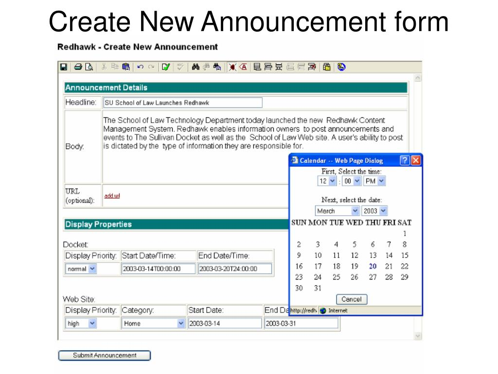 Create New Announcement form