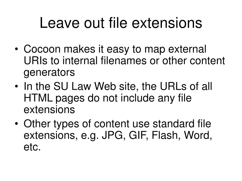 Leave out file extensions
