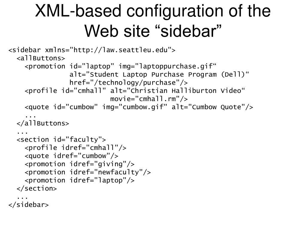 "XML-based configuration of the Web site ""sidebar"""