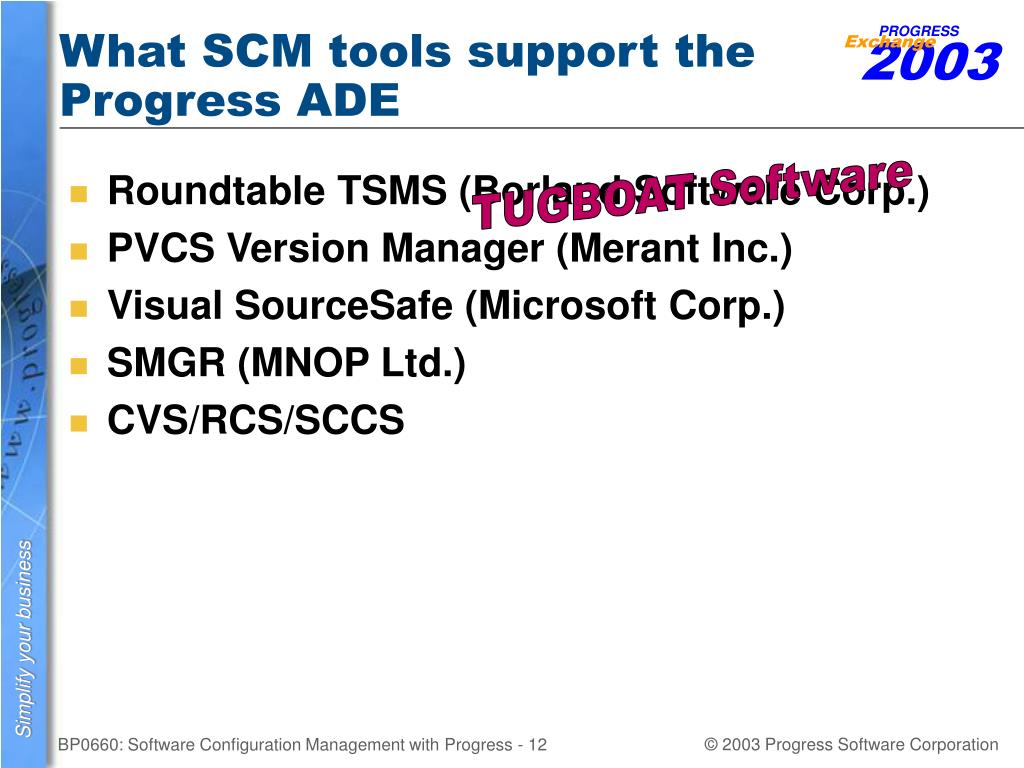 What SCM tools support the Progress ADE