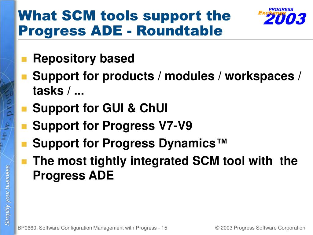 What SCM tools support the Progress ADE - Roundtable