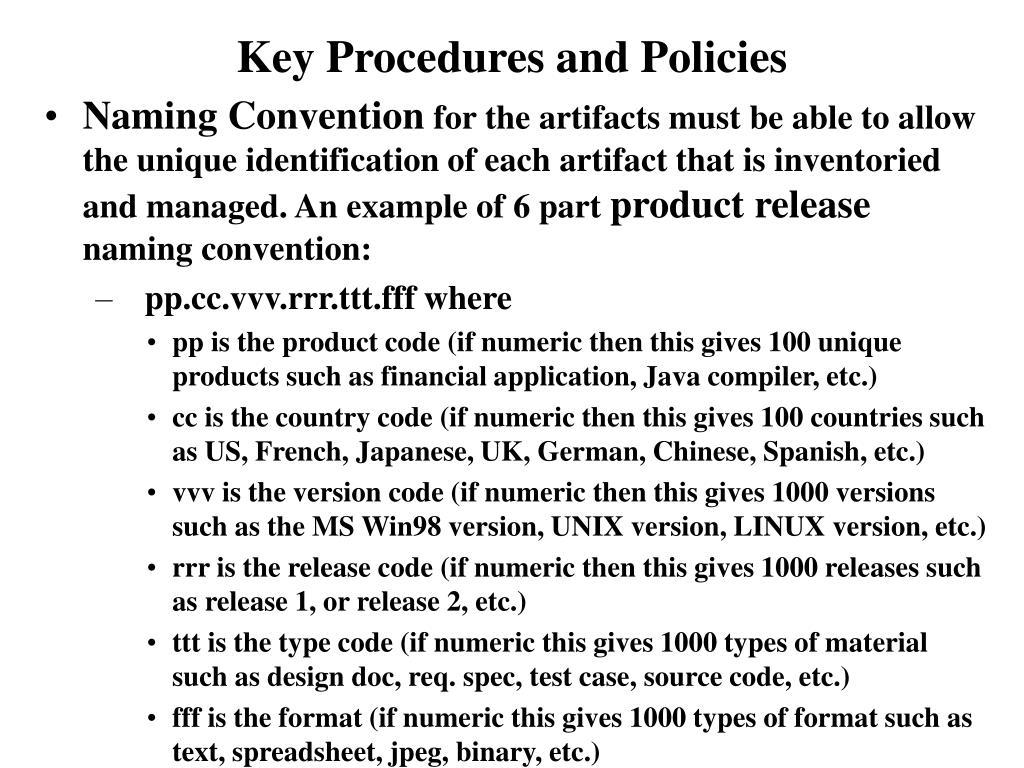 Key Procedures and Policies