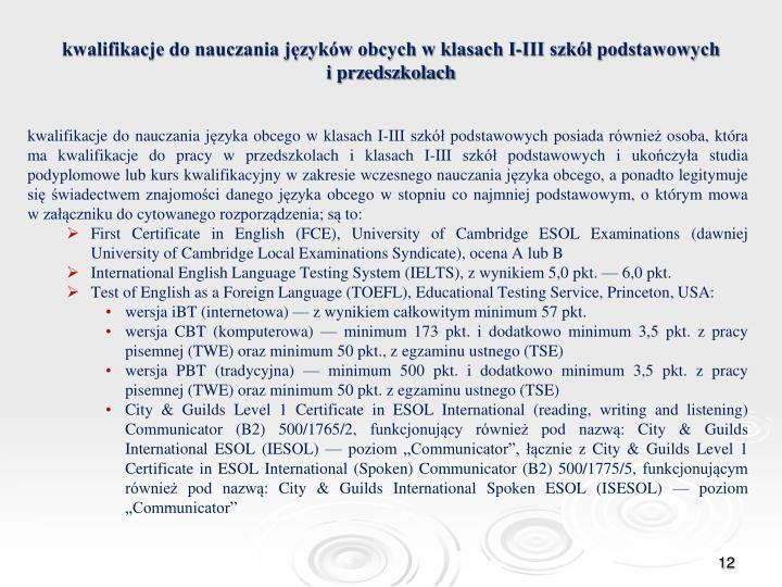 kwalifikacje do nauczania języków obcych w klasach I-III szkół podstawowych