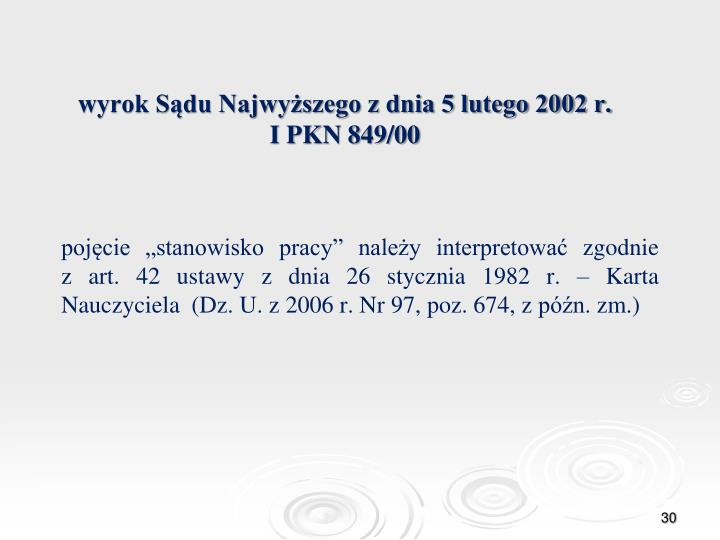wyrok Sądu Najwyższego z dnia 5 lutego 2002 r.