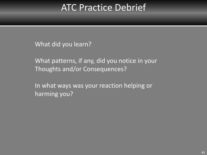 ATC Practice Debrief