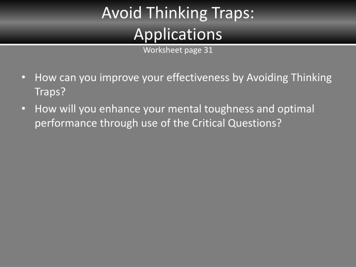 Avoid Thinking Traps: