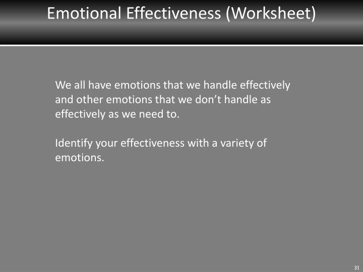Emotional Effectiveness (Worksheet)