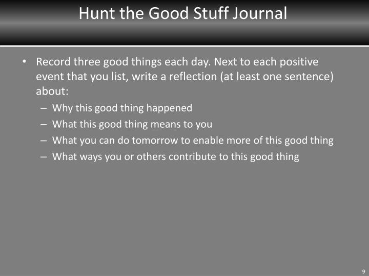 Hunt the Good Stuff Journal