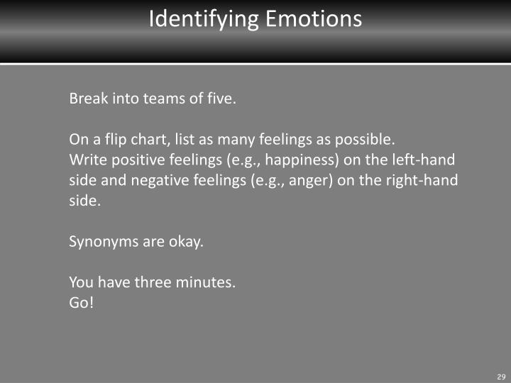 Identifying Emotions