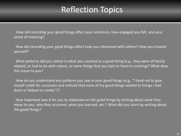 Reflection Topics