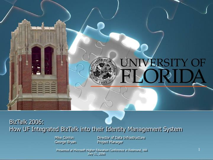 Biztalk 2006 how uf integrated biztalk into their identity management system