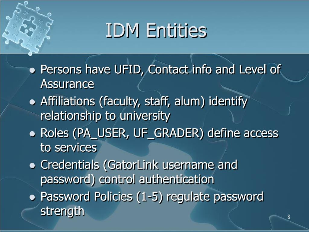 IDM Entities