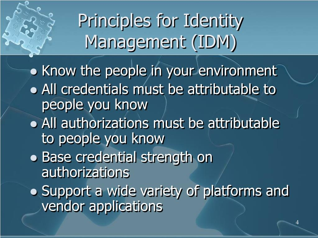Principles for Identity Management (IDM)