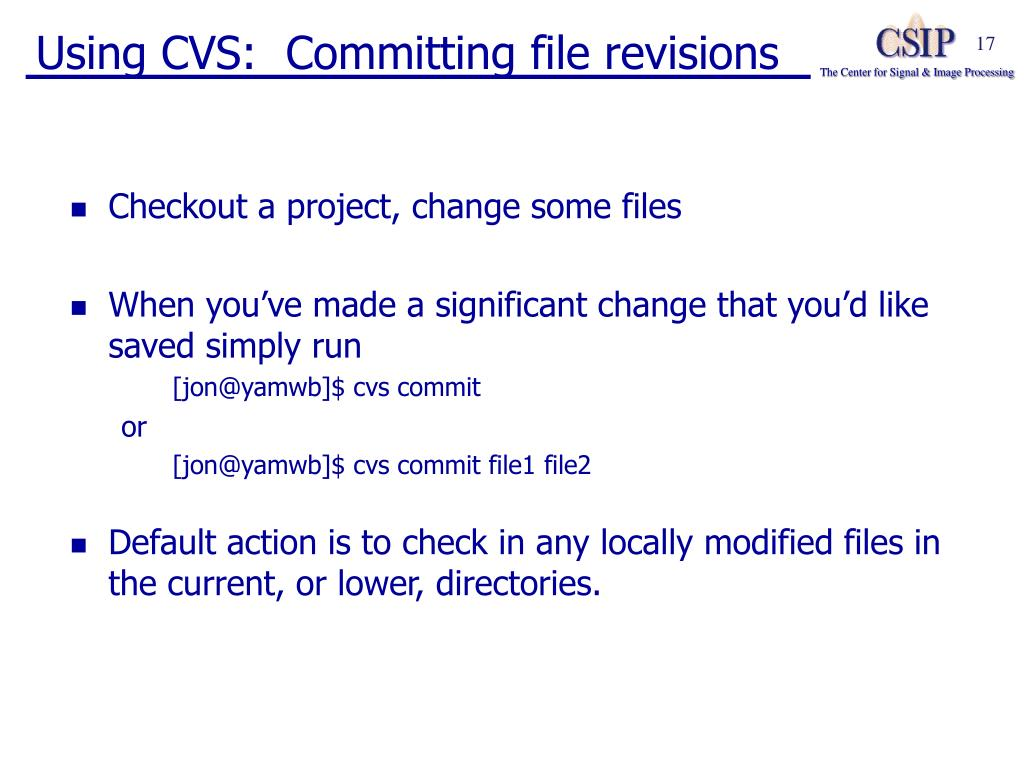 Using CVS:  Committing file revisions