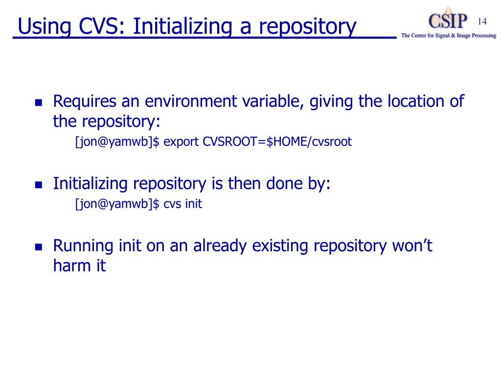 Using CVS: Initializing a repository