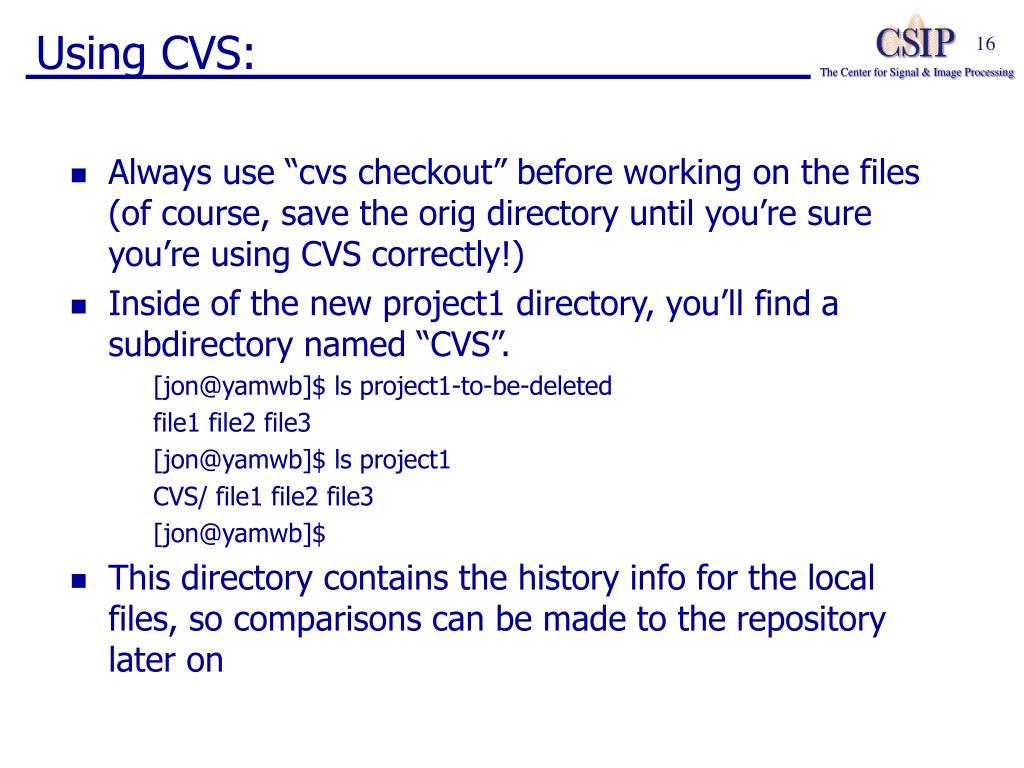 Using CVS: