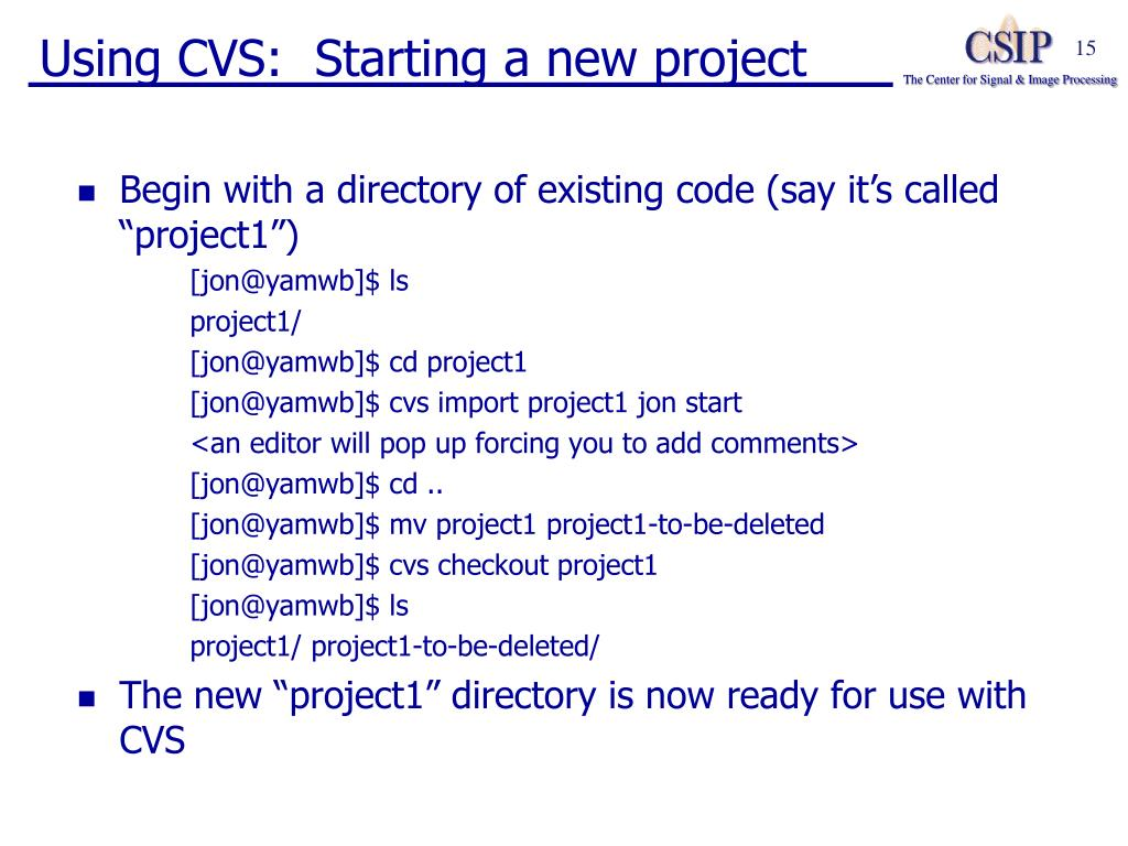 Using CVS:  Starting a new project