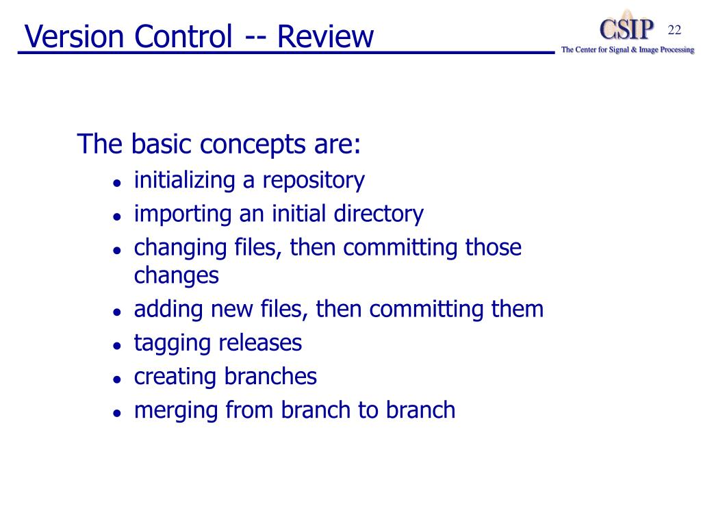 Version Control -- Review