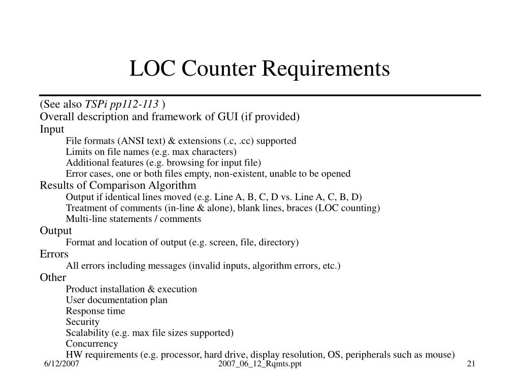 LOC Counter Requirements