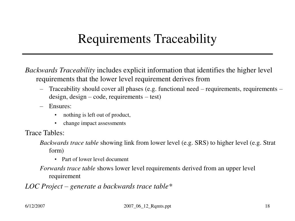 Requirements Traceability