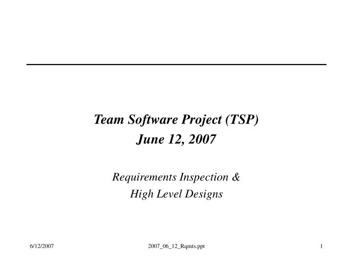 Team Software Project (TSP)