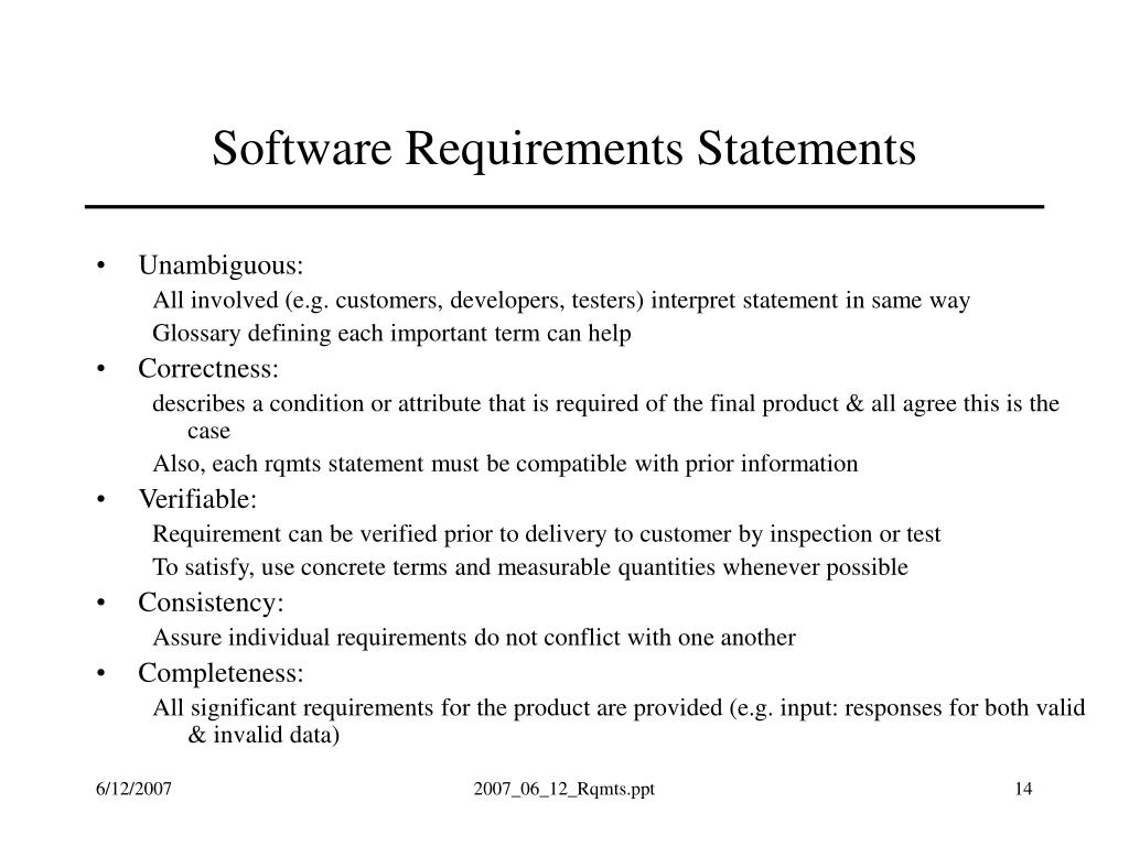 Software Requirements Statements