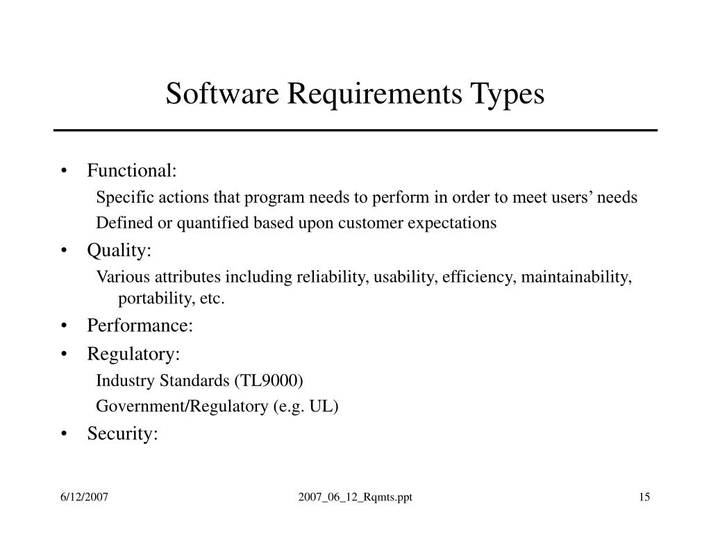 Software Requirements Types