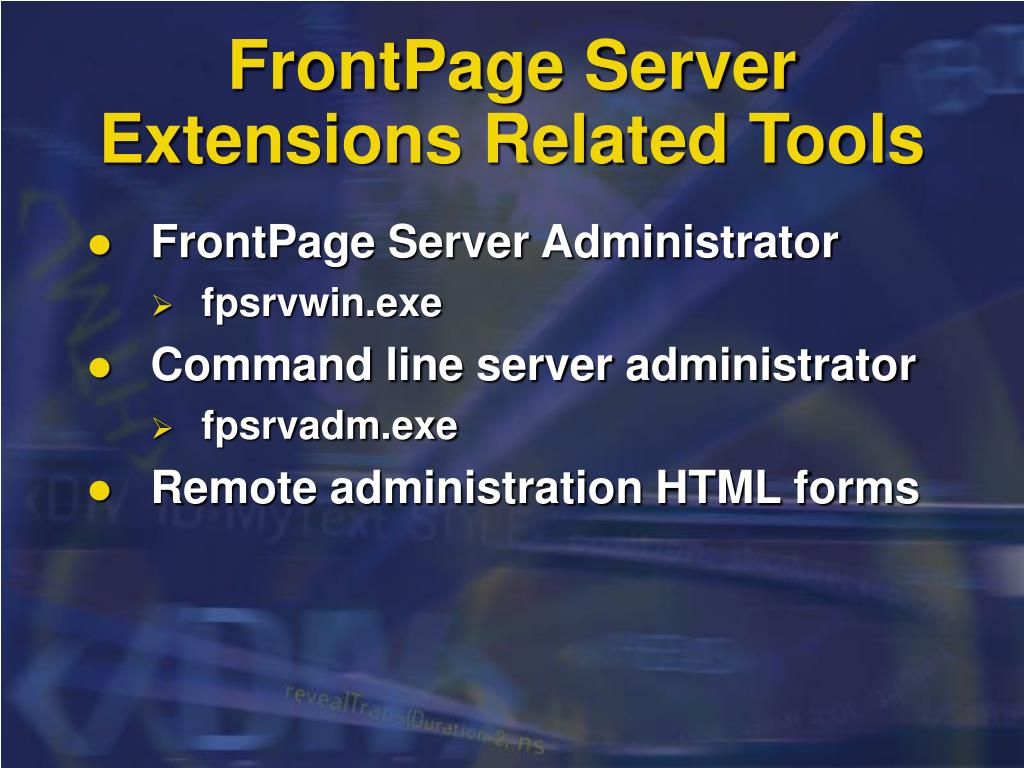 FrontPage Server Extensions Related Tools