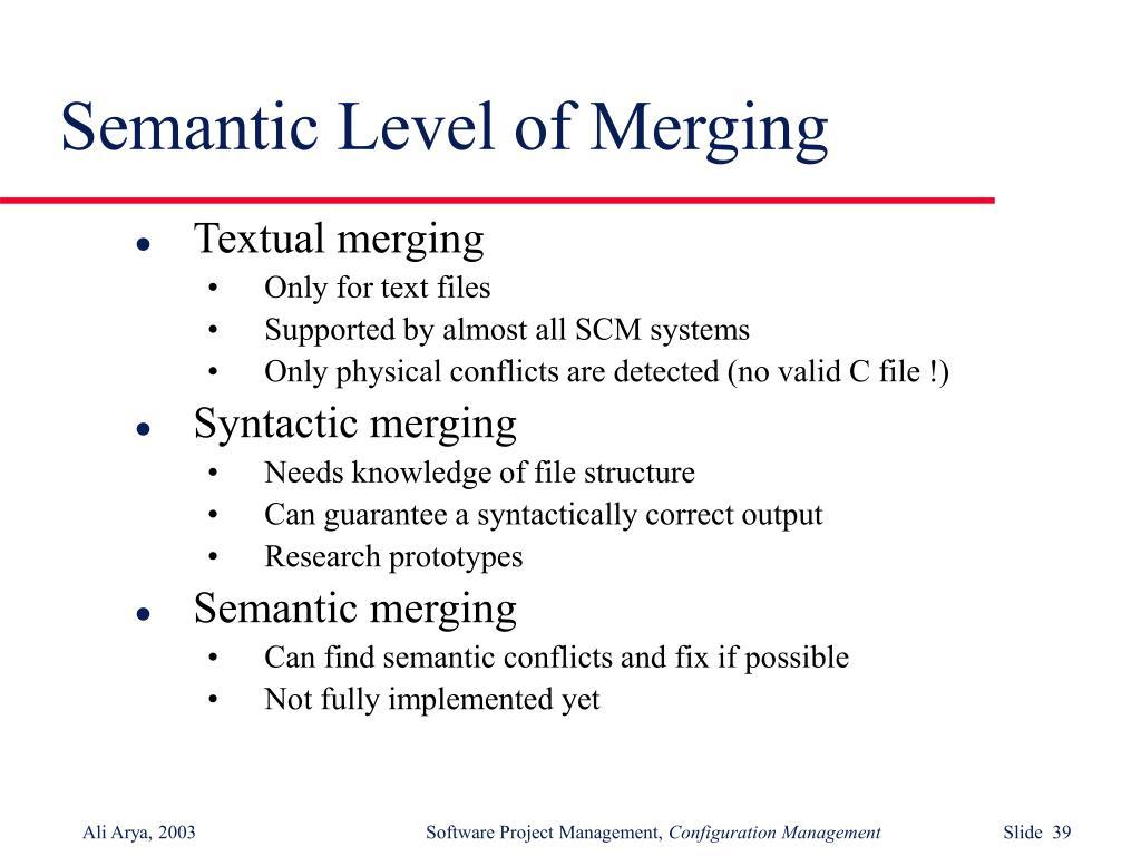 Semantic Level of Merging
