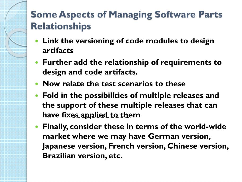 Some Aspects of Managing Software Parts Relationships