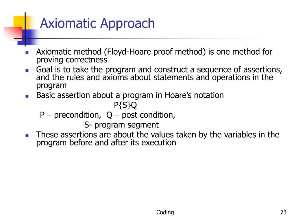 Axiomatic Approach