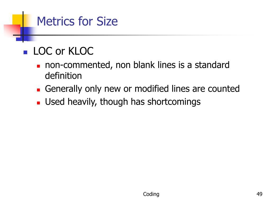 Metrics for Size
