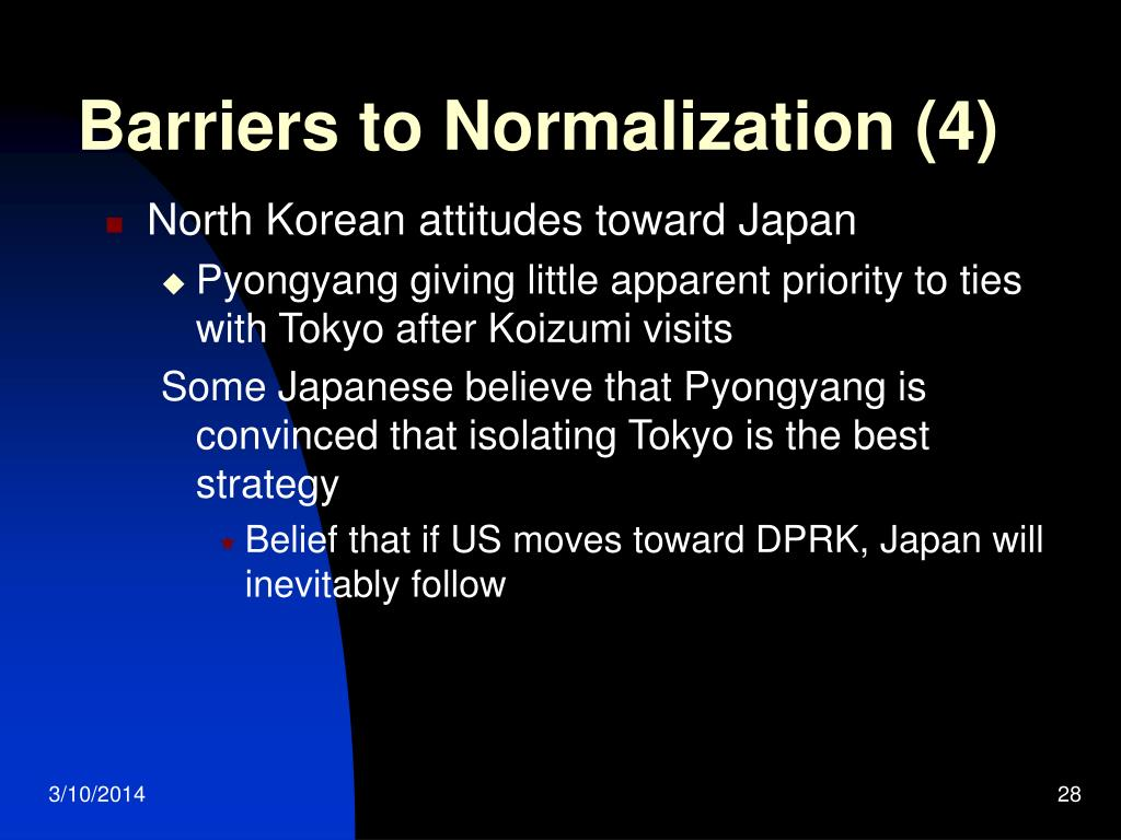 Barriers to Normalization (4)