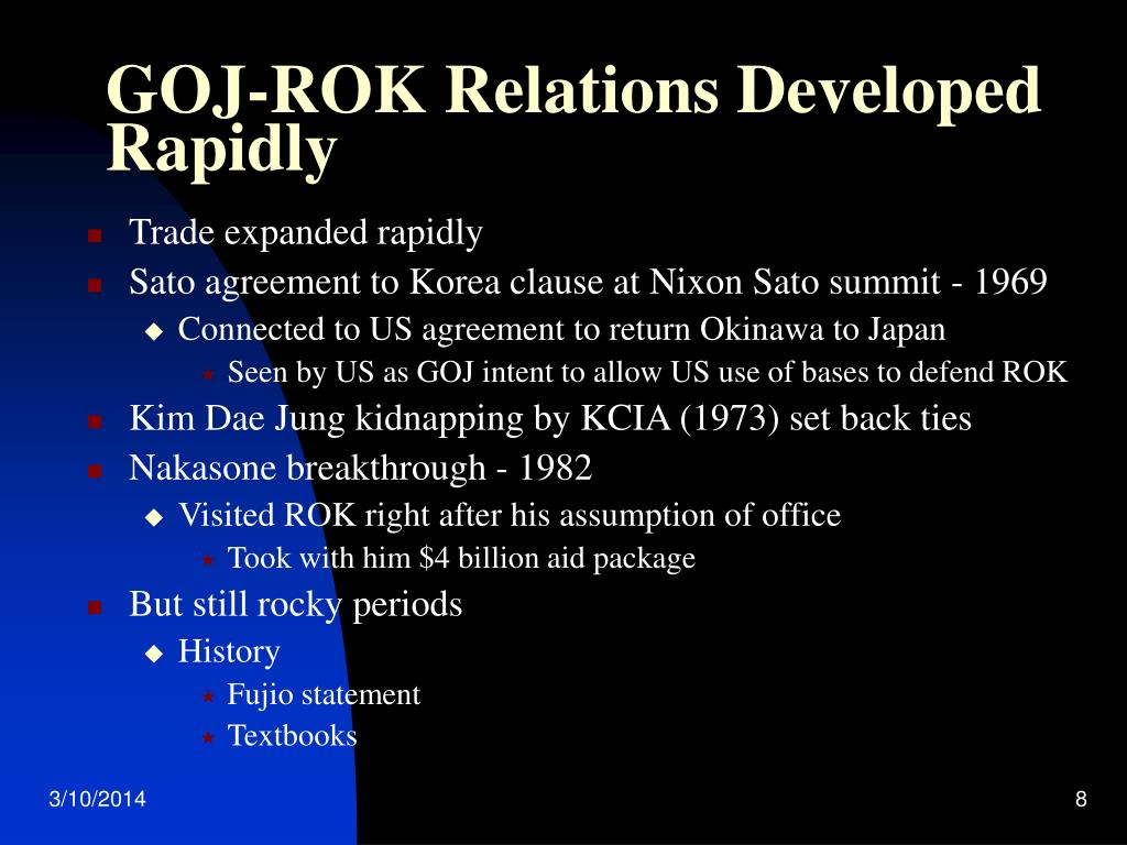 GOJ-ROK Relations Developed Rapidly